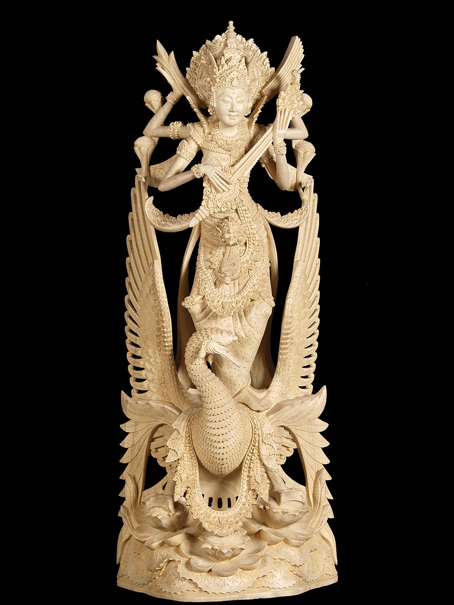 4b10a-wood-carving-saraswati-statue-goddess-knowledge