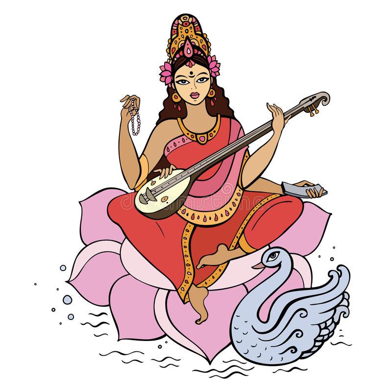 hindu-goddess-saraswati-vector-hand-drawn-illustration-38880847