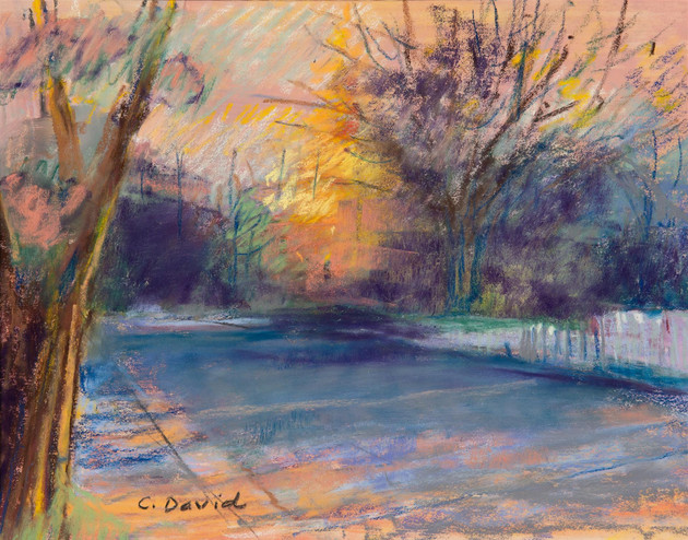 "Carol David (Modesto) Nevada City Sunrise, 2019 Award of Merit Pastel 18"" x 16"" SOLD"