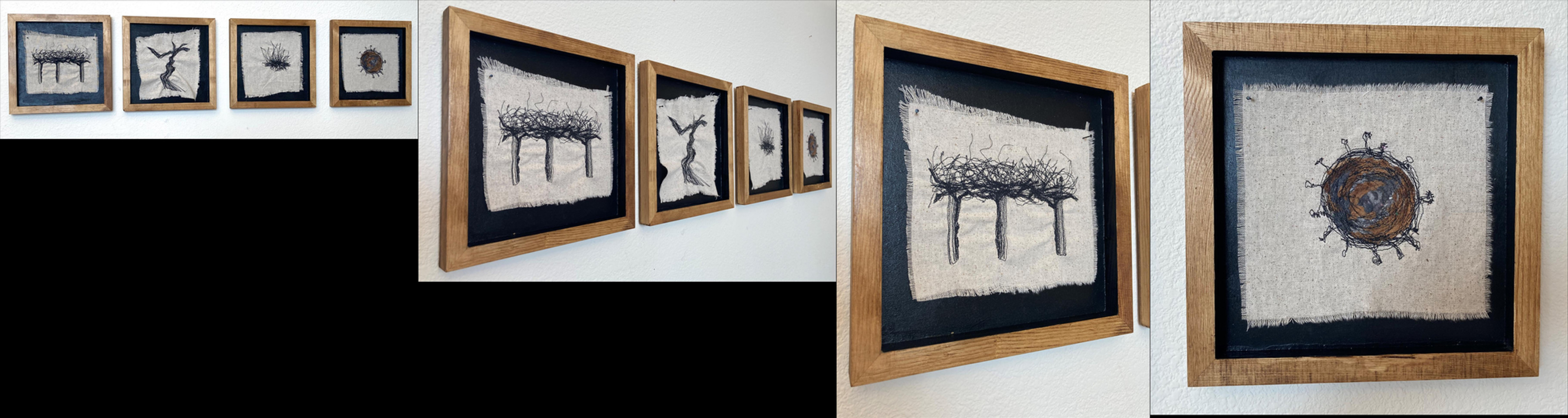 "Michelle Park (Turlock) A California Story (Interrupted) embroidered cloth with mixed media on wood, 10"" x 44"" x 0.75"" $195"