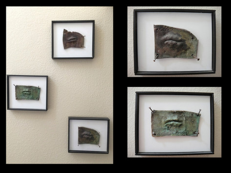 Read My Lips raku-fired clay mointed on canvas with nails NFS
