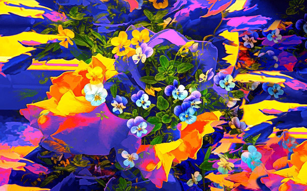 "Anna Barber (Ripon) Southwestern Violets, 2020 Digital photo-art printed on metal 20"" x 32"" $500"