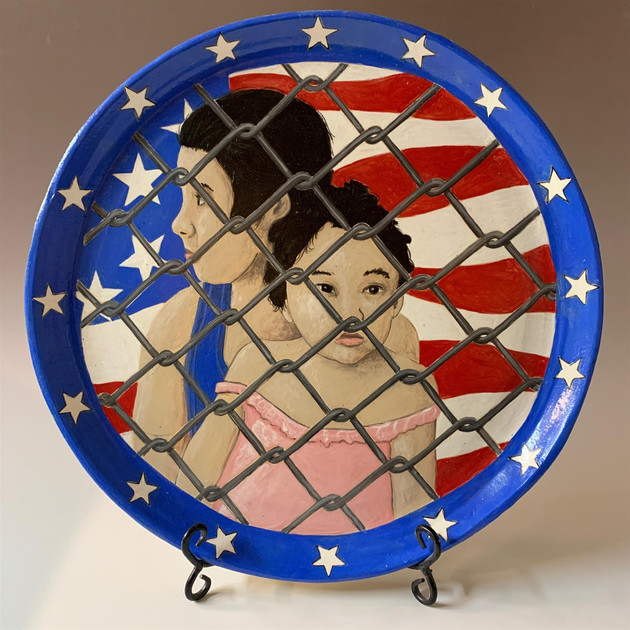 "Don Hall (Turlock) Cages?, 2019 Ceramic 17.5"" x 17.5"" x 1.5"" $600"