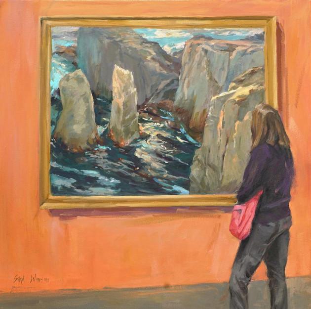 "Sibyl Johnson (Carmel) Regarding Ritschel, 2018 Oil on canvas 18"" x 18"" $1,800"
