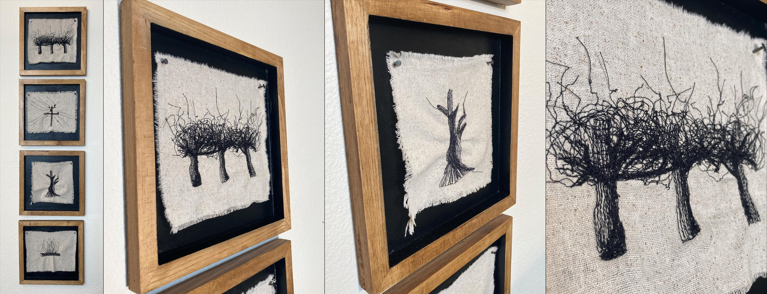 "Michelle Park (Turlock) A California Story (Grapevines in Winter) embroidered cloth on wood, 44"" x 10"" x 0.75"" $240"