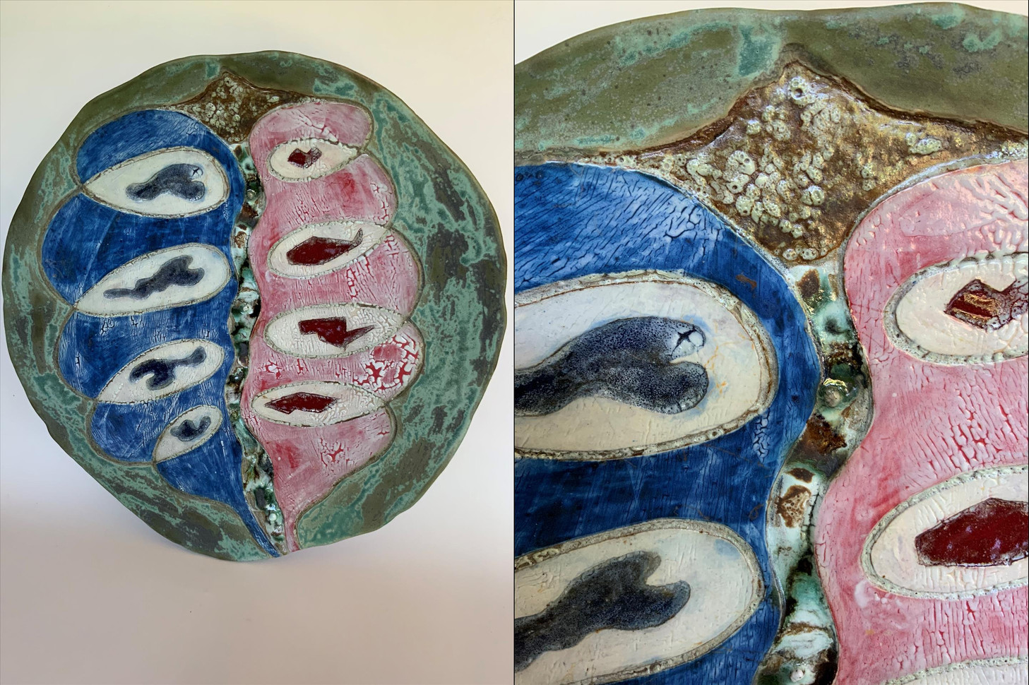 "Randy Crimmel (Modesto) American Shield: Red v. Blue - Blue v. Red ceramic, 17"" x 16"" x 3"" $260"