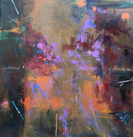 "Chella Gonsalves (Modesto) What's Next? Award of Merit acrylic, text on canvas, 48"" x 48"" $2,500"