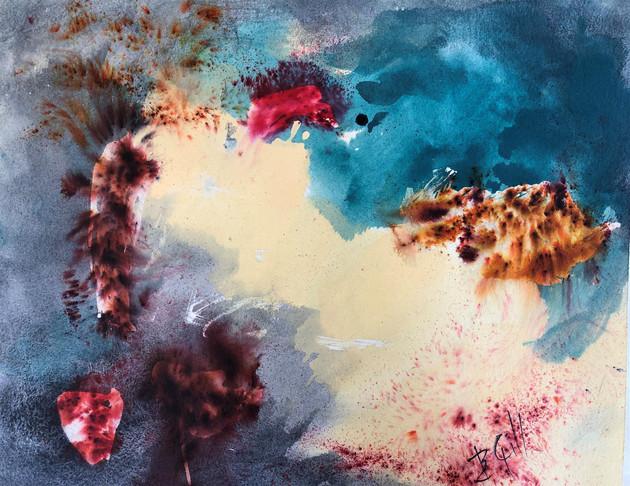 """Barbara Gill (Modesto) Fireworks, 2019 Watercolor 20"""" x 16"""" $250"""