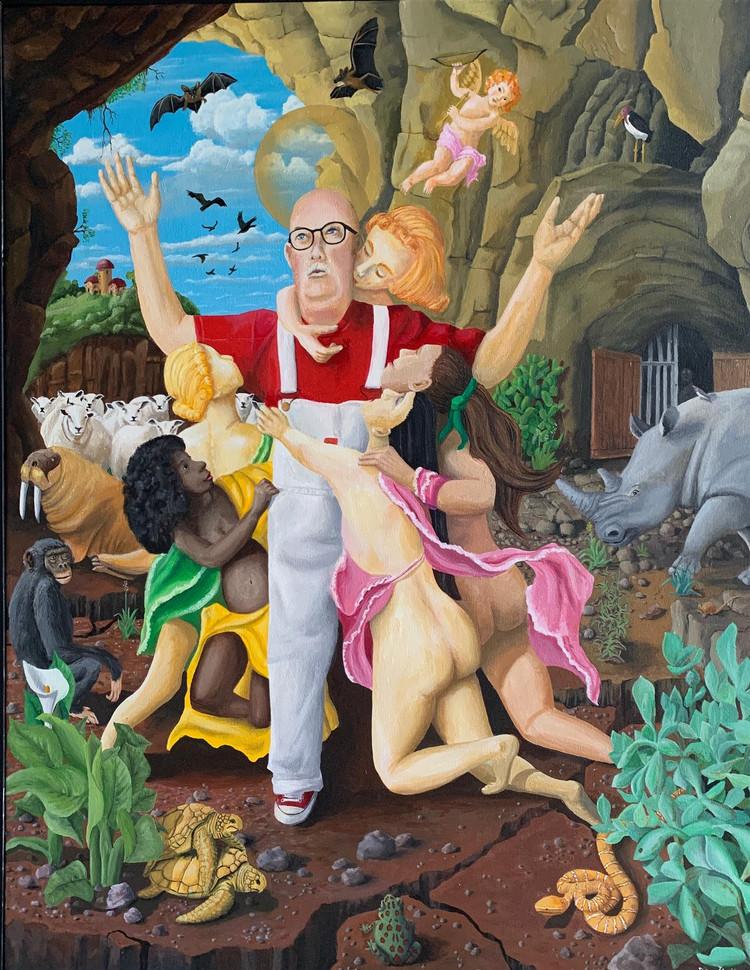 "Don Hall (Turlock) Self-Portrait as Saint Anthony, 2020 Acrylic on canvas 38"" x 48"" $2,400"