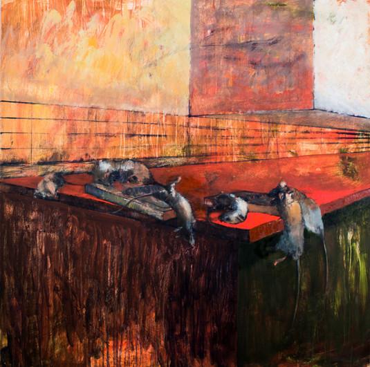 "Richard Gomez (Merced) Decolonize oil on panel, 48"" x 48"" NFS"