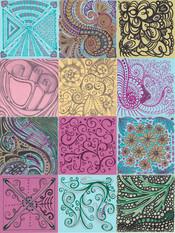 "Linda Knoll (Modesto) My Brain on Zoom mixed media on canvas, 12"" x 9"" x 1"" $100"