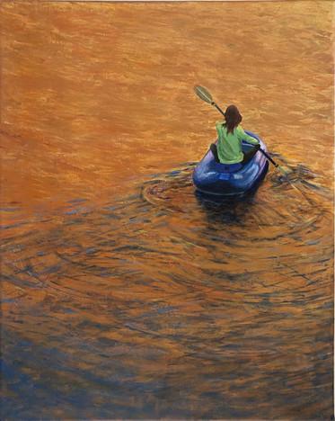 "Henrietta Sparkman (Modesto) Lifeboat acrylic, 20"" x 16"" $650"