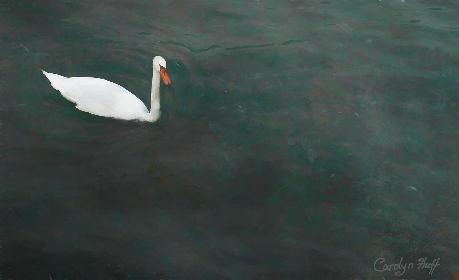 "Carolyn Huff (Modesto) Swan Lake, 2019 Mixed media on watercolor 19"" x 13"" $1,500"