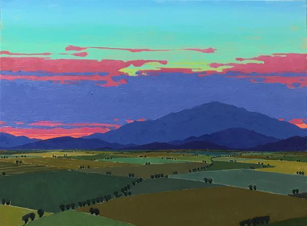 "John Claes (Turlock) The Last Glow, 2020 Oil on canvas 30"" x 24"" $3,200"