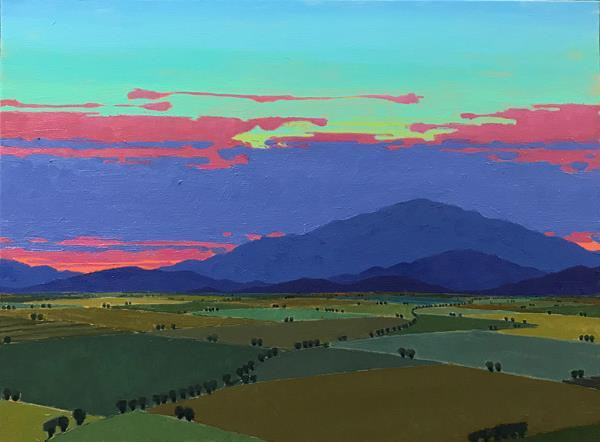 "John Claes (Turlock) The Last Glow, 2020 Oil on canvas 30"" x 24"" $3,200"