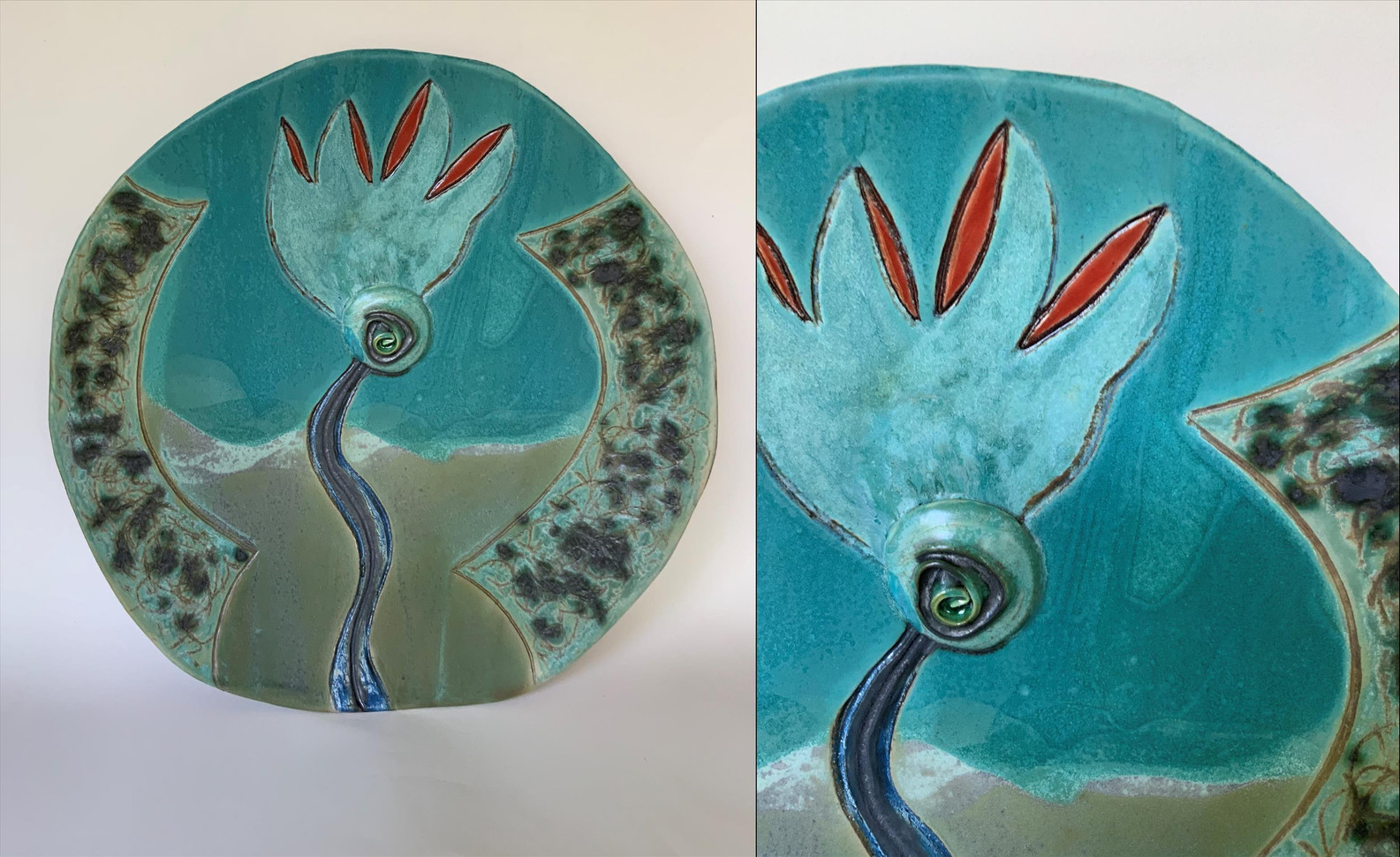 "Randy Crimmel (Modesto) Covid Flower ceramic, 16"" x 16"" x 3"" $240"