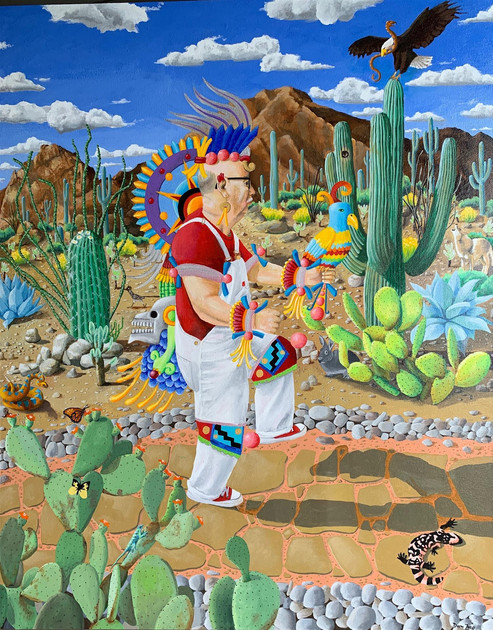 "Don Hall (Turlock) Self-Portrait as Tonatiuh, 2020 Acrylic on canvas 38"" x 48"" $2,400"