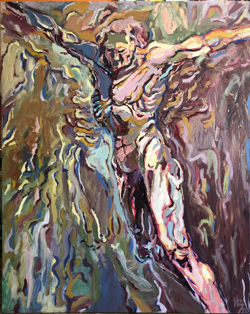 "Hudson Berdino (Turlock) Victory Lap, 2020 Oil on canvas 48"" x 60"" $2,000"
