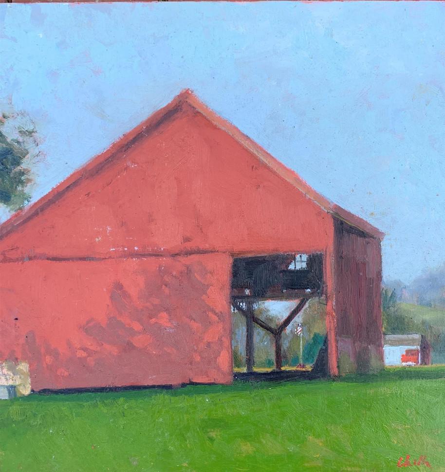 "Chella Gonsalves (Modesto), Meyer Road Barn, 2017 Oil on board, 12"" x 12"" $500"