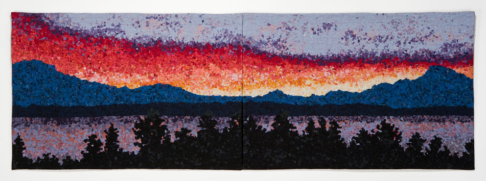 Sunset on the Sound (diptych) textiles $2,250