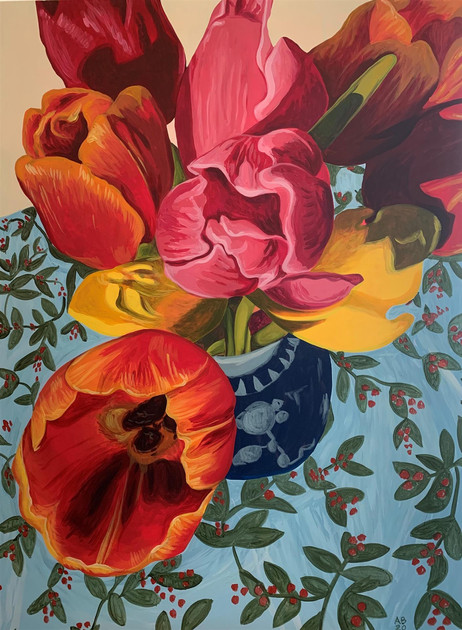 "Amy Bultena (Merced) Tulips in Bud Vase, 2019 Acrylic on canvas 36"" x 48"" $3,000"