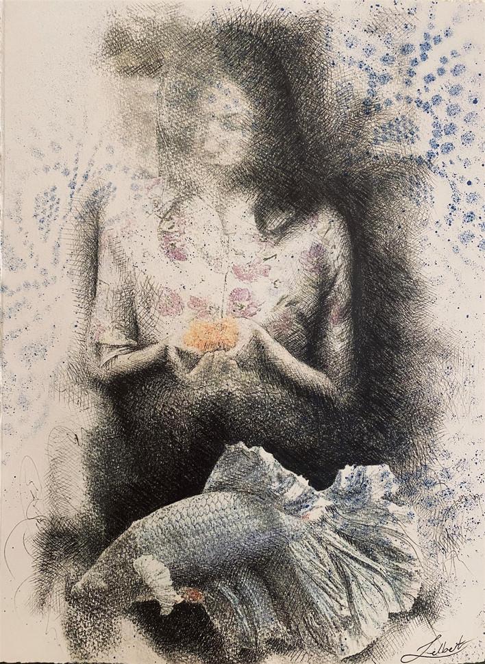 """Jelbert Karamisangar (Turlock) Untitled, 2020 Mixed media 17"""" x 21"""" $1,200"""