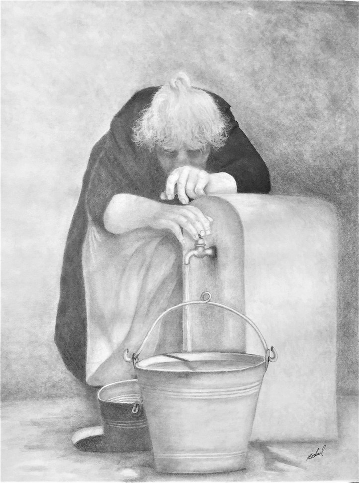 "Michael Souza (Turlock) Wash Your Hands graphite, 24"" x 18"" $450"