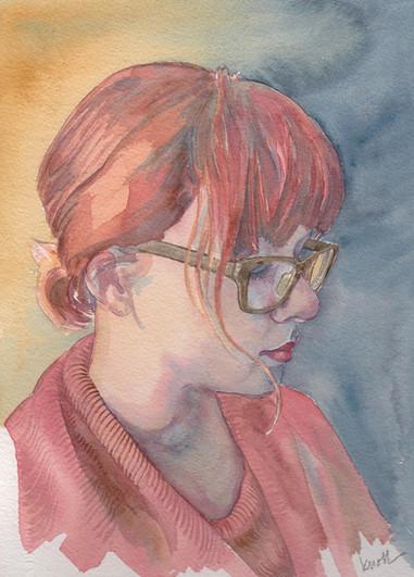 "Linda Knoll (Modesto) Pensive watercolor, 12"" x 9"" x 1"" $400"