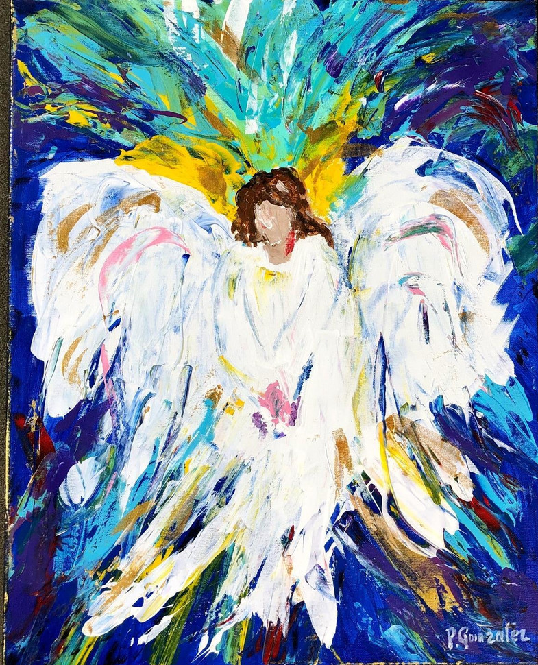 """Patty Gonzalez (Waterford) I'm Here (Comfort Angel), 2020 Acrylic and enamel paint on canvas 20"""" x 16"""" SOLD"""