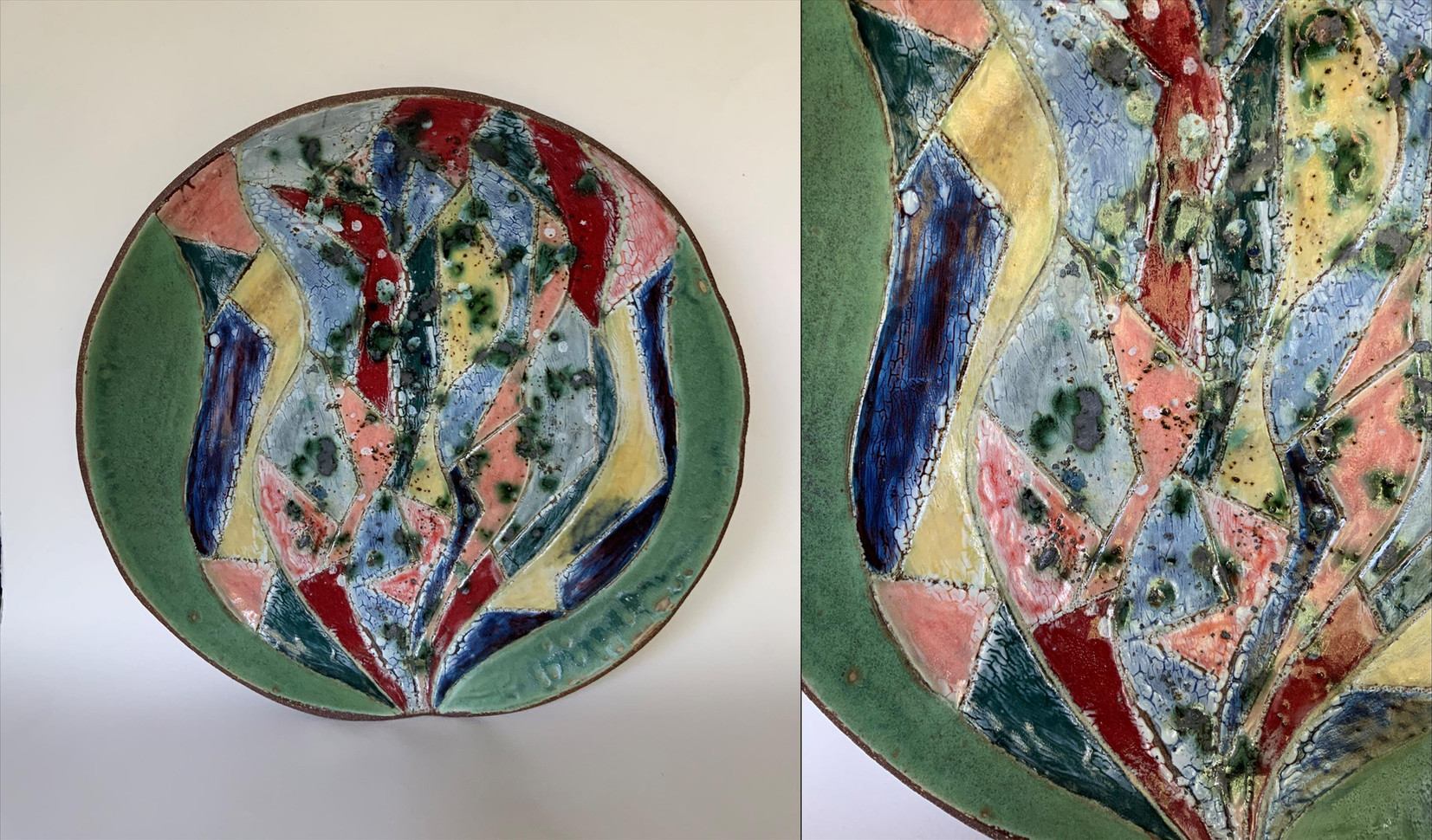 "Randy Crimmel (Modesto) Pandemic Bloom ceramic, 16"" x 16"" x 3"" $240"