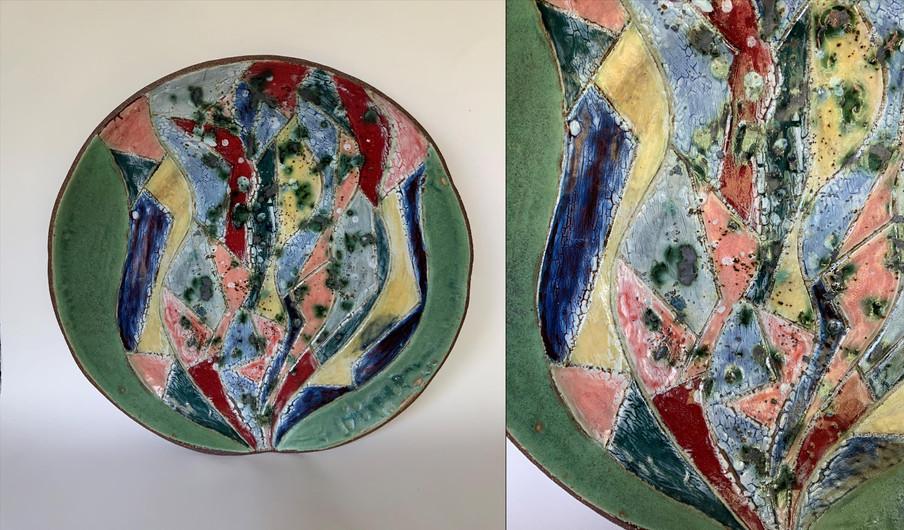 "Randy Crimmel (Modesto) Pandemic Bloom ceramic, 16"" x 16"" x 3"" $240"
