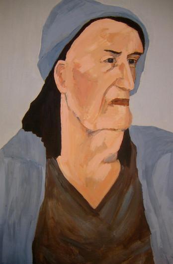 "Annie Hopkins Milne (Los Angeles) Homeless, Sunset & Western acrylic on masonite, 36"" x 24"" x 2"" $5,000"
