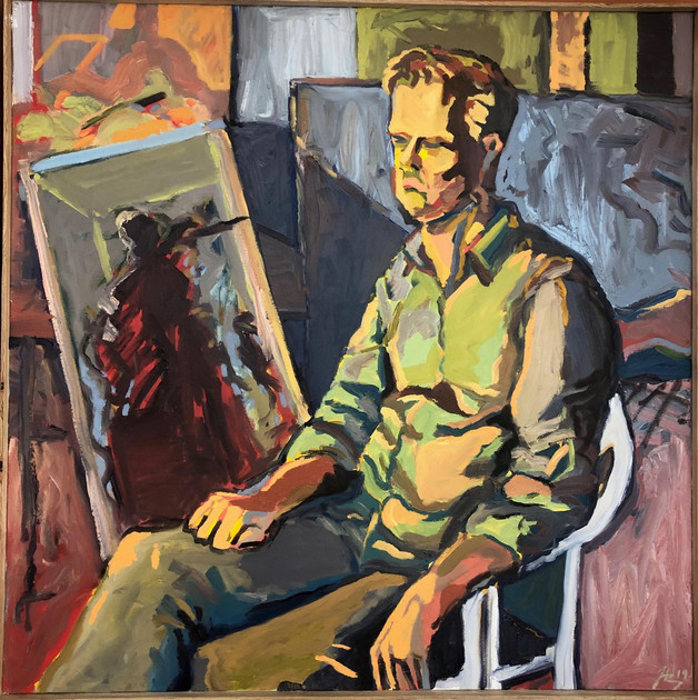"Hudson Berdino (Turlock) The Teacher, 2019 Oil on canvas 36"" x 36"" $1,000"