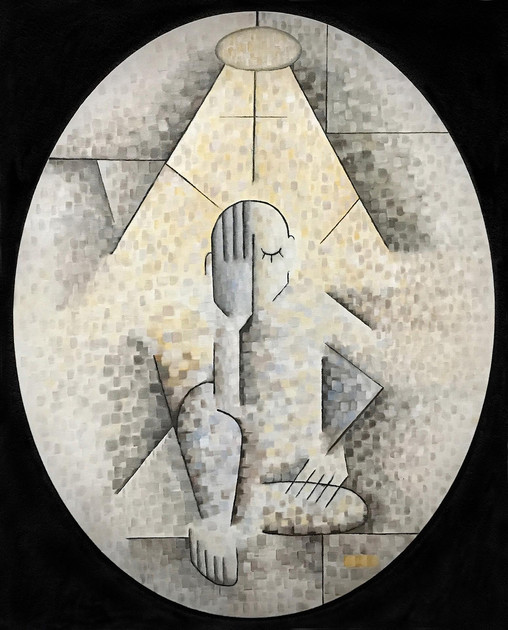 "Thomas Duarte (Newman) Contemplation, 2020 Acrylic on canvas 16"" x 20"" NFS"