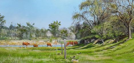 "Vaugn Lew (Hughson), Grazers, 2020 Oil on canvas, 12"" x 24"" $750"