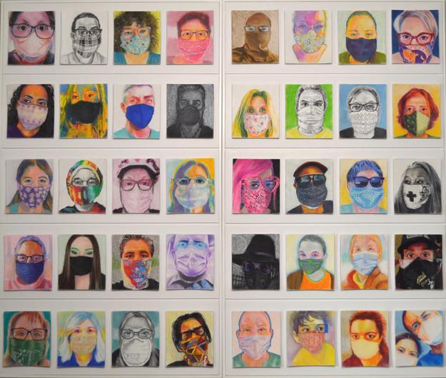 """Vivian Patton (Groveland) Masks 2020 pastel, 62"""" x 52"""" NFS"""