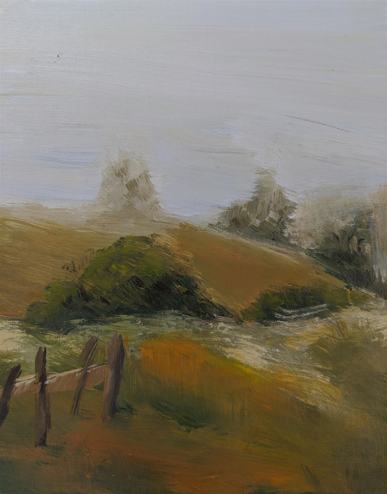 "Kristina Anderson (Tracy) Mist from Bodega Bay, 2020 Acrylic on panel 10"" x 8"" $125"
