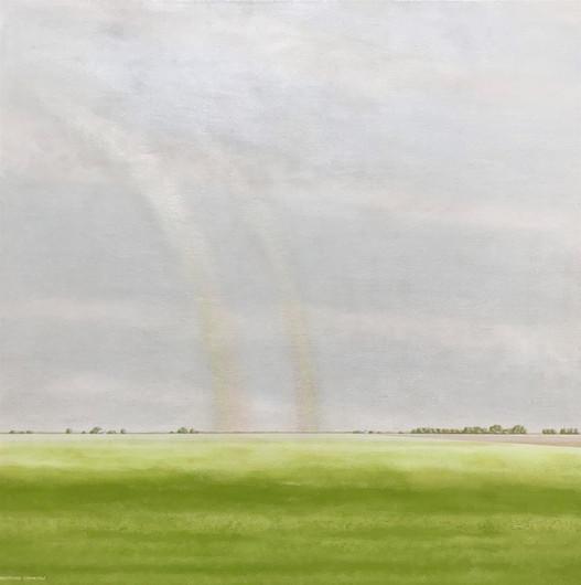 "Katherine Crinklaw (Newman), Rainbows with Alfalfa Near San Joaquin River, 2020 Acrylic, 38"" x 38"" $1,700"