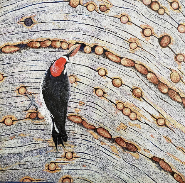 "John Kifer (North Fork) The Hoarder, 2020 Acrylic stipple on wood panel 16"" x 16"" $2,100"