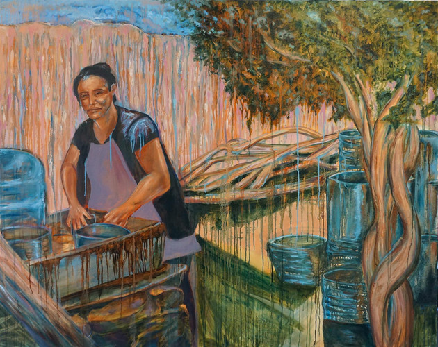 """Marcy Duarte (Modesto) Dominga, 2019 Honorable Mention Oil on canvas 60"""" x 48"""" $1,500"""