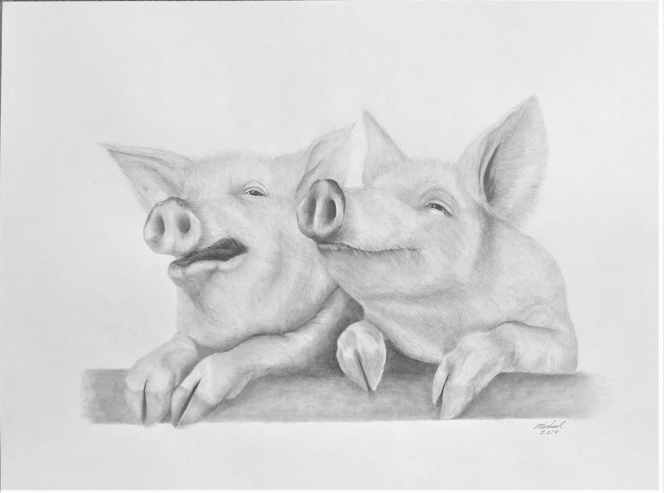 "Michael Souza (Turlock), Pig Heaven, 2019 Graphite on paper, 18"" x 24"" $450"