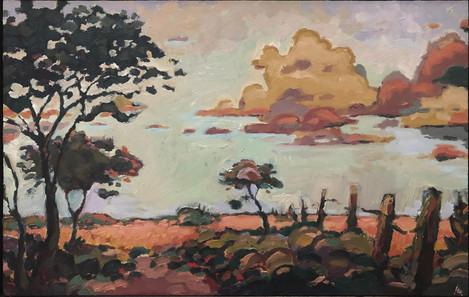 "Hudson Berdino (Turlock), Judas' Mile, 2020 Oil on wood panel, 10.25"" x 16"" SOLD"