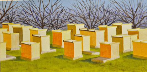 "Margaret Eldred (Davis), Beehives, 2019 Acrylic, 12"" x 24"" $225"