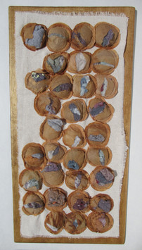 Banner for a Complete Waste of Time tea bags, dryer lint, mounted on cloth and board $175