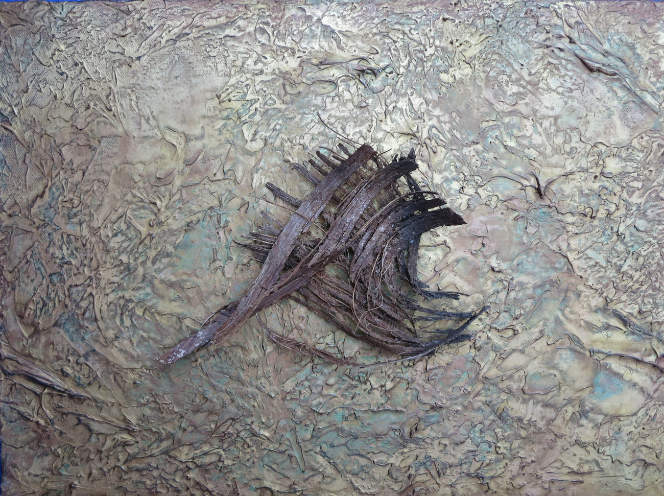 Tree in Wind mixed media on canvas NFS