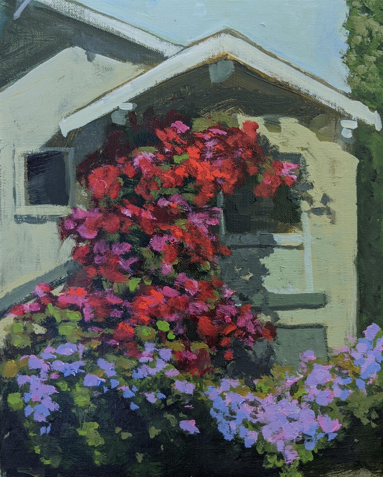 """Margarita Anderson (Tracy) Berkeley House with Bougainvillea, 2020 Acrylic on panel 10"""" x 8"""" SOLD"""