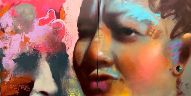 """Richard Gomez (Atwater) Inclusion, 2020 Award of Excellence Spray paint (aerosol) on panel 96"""" x 48"""" $8,000"""