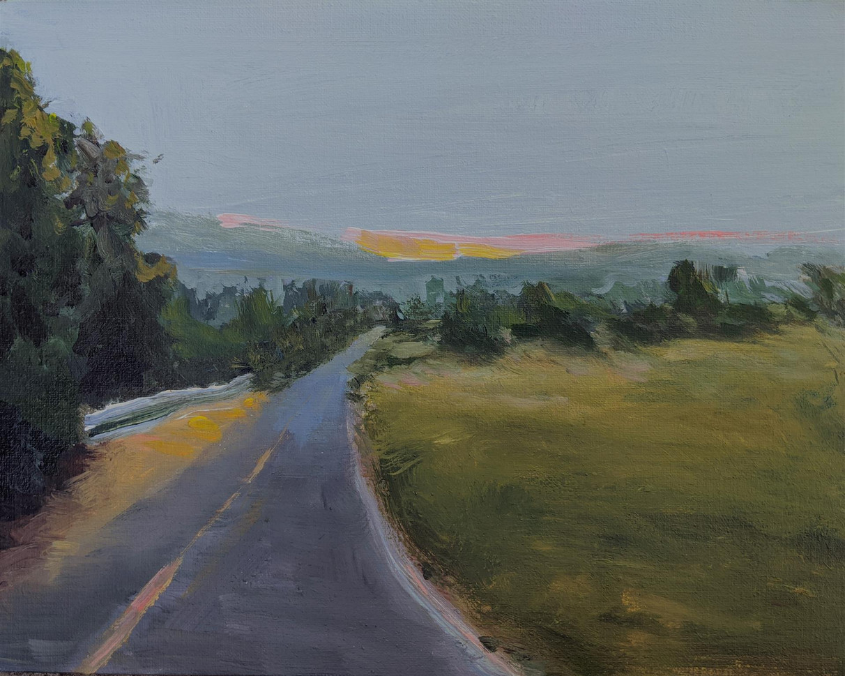 """Kristina Anderson (Tracy) Leaving Tomales Bay, 2020 Acrylic on panel 11"""" x 14 $200"""