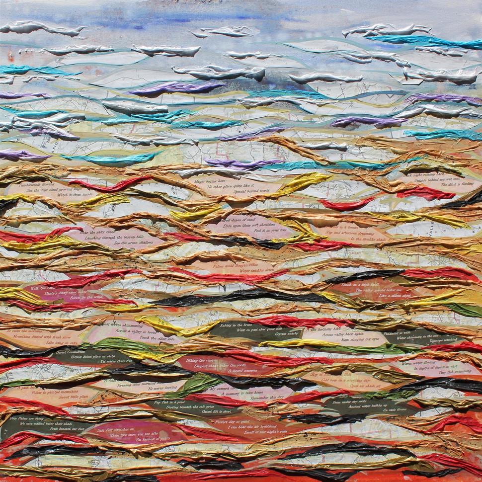 "Jennifer Fosgate (Merced) Desert Conundrum, 2017 Oil on canvas, tissue paper, various maps, Haiku printed on colored paper 36"" x 36"" NFS"