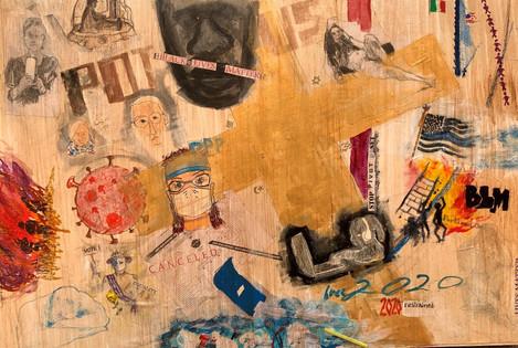 "Chella Gonsalves (Modesto) Year 2020 mixed media on canvas, 24"" x 36"" $550"